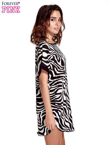Czarna tunika ze wzorem zebry                                  zdj.                                  3