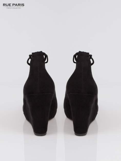 Czarna wiązane koturny lace up                                  zdj.                                  3