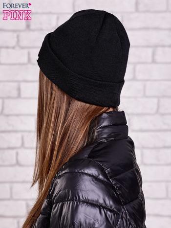 Czarna wywijana czapka z napisem COOL                                  zdj.                                  2