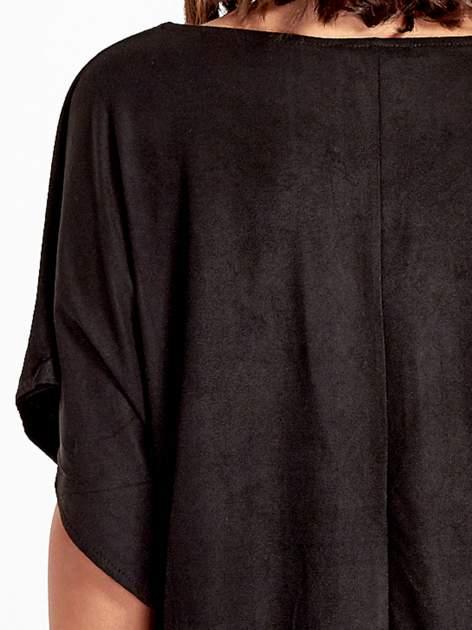 Czarna zamszowa bluzka z haftem w stylu boho                                  zdj.                                  6