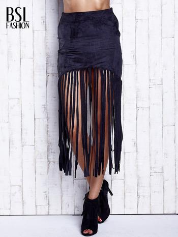Czarna zamszowa spódnica z frędzlami                                  zdj.                                  1