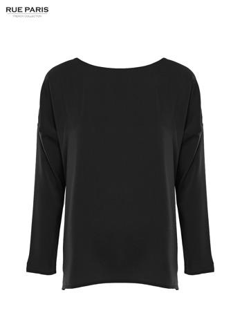 Czarna zwiewna koszula z łódkowym dekoltem                                  zdj.                                  1
