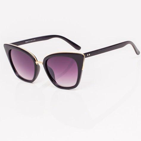 Czarne Damskie Okulary przeciwsłoneczne CAT EYE                              zdj.                              4