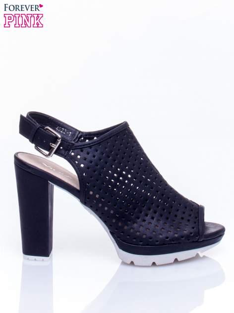 Czarne ażurowe sandały faux leather Smashy na słupku