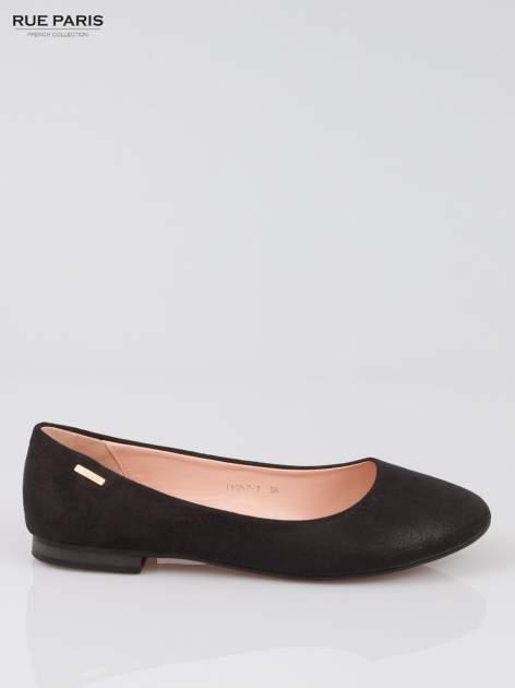 Czarne baleriny dual leather Gloss z lekkim metalizowaniem                                  zdj.                                  1