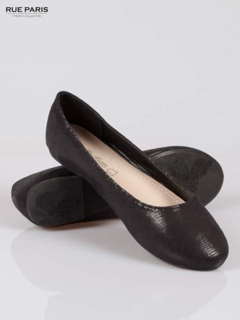 Czarne baleriny faux leather z efektem animal skin                                  zdj.                                  4