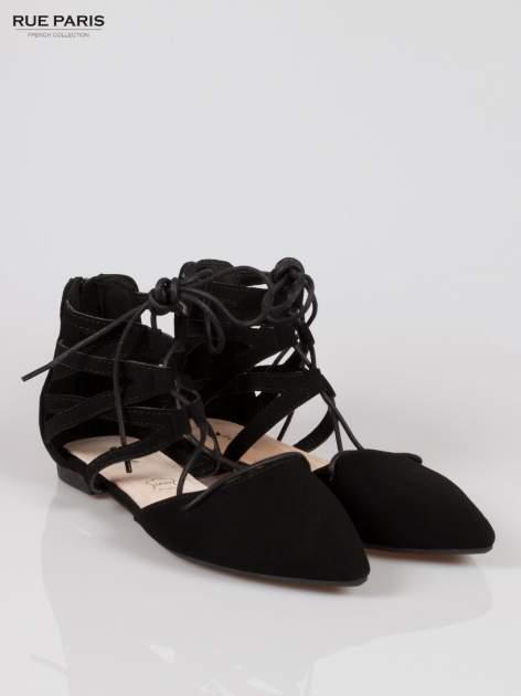 Czarne baleriny lace up faux suede Taylor z wiązaniem