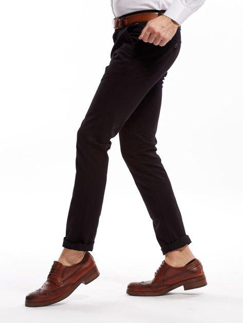 Czarne bawełniane spodnie męskie chinosy                               zdj.                              9