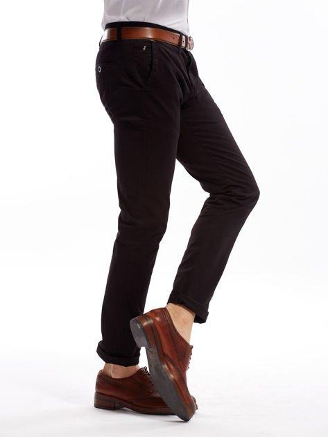 Czarne bawełniane spodnie męskie chinosy                               zdj.                              10