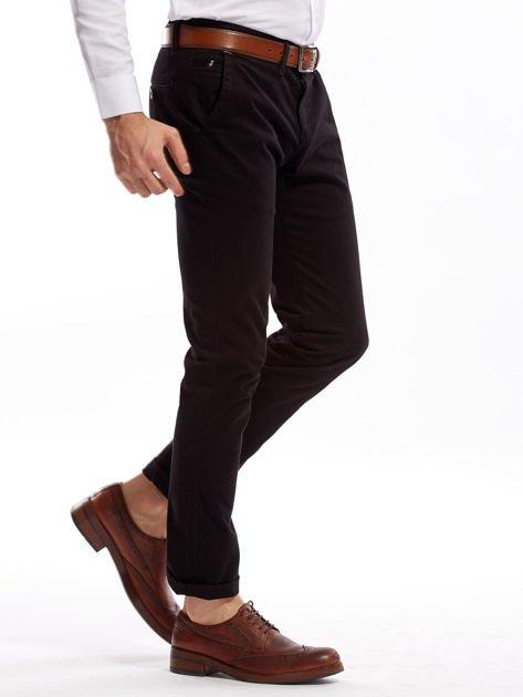 Czarne bawełniane spodnie męskie chinosy                               zdj.                              3
