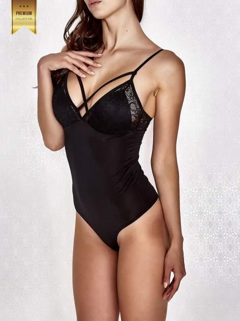 Czarne body damskie z dekoltem cut out                                  zdj.                                  3