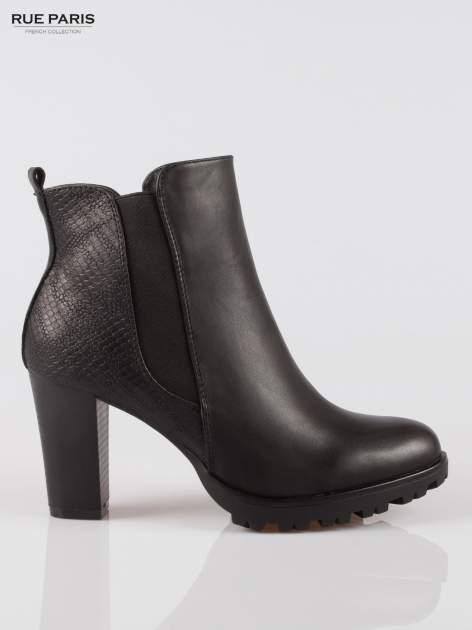 Czarne botki ankle boots na słupku z gumą po bokach cholewki                                  zdj.                                  1