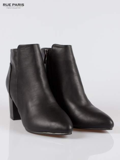 Czarne botki ankle heels na słupku                                  zdj.                                  2