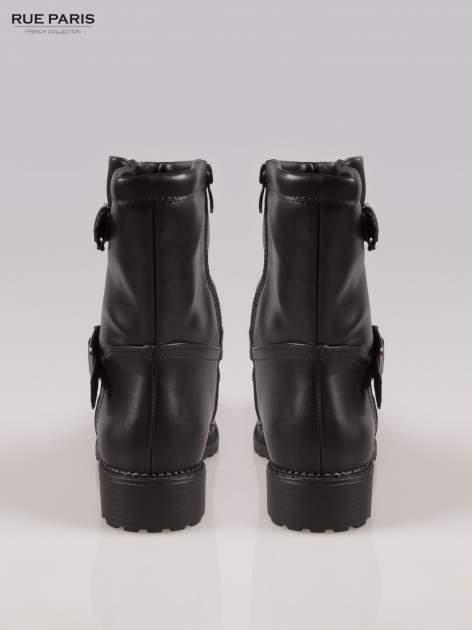 Czarne botki biker boots z klamerkami                                  zdj.                                  3