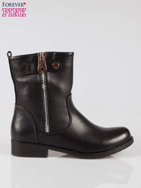 Czarne botki biker boots z suwakiem z boku