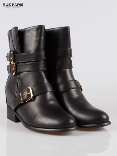 Czarne botki biker boots ze złotymi klamrami                                  zdj.                                  2