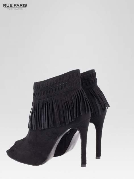 Czarne botki faux suede Suzie open toe z frędzlami w stylu boho                                  zdj.                                  6