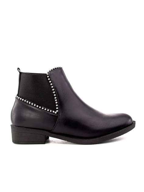Czarne botki ze srebrnymi nitami i elastyczną wstawką
