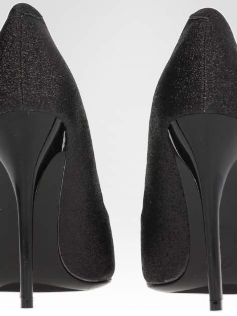 Czarne brokatowe szpilki w szpic Black Glitter                                  zdj.                                  7