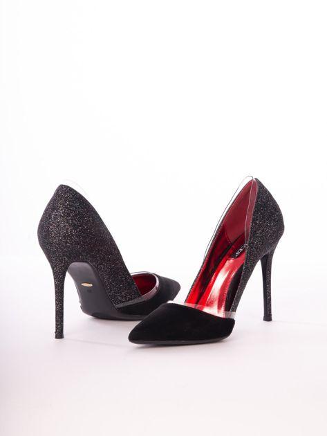 Czarne brokatowe szpilki z czerwoną wkładką                              zdj.                              5