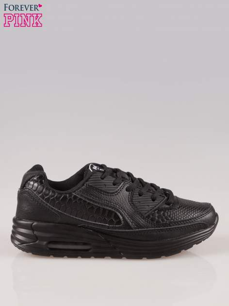 Czarne buty sportowe faux leather Watch Me ze wstawkami ze skóry krokodyla                                  zdj.                                  1