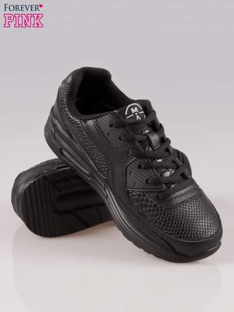Czarne buty sportowe faux leather Watch Me ze wstawkami ze skóry krokodyla                                  zdj.                                  4