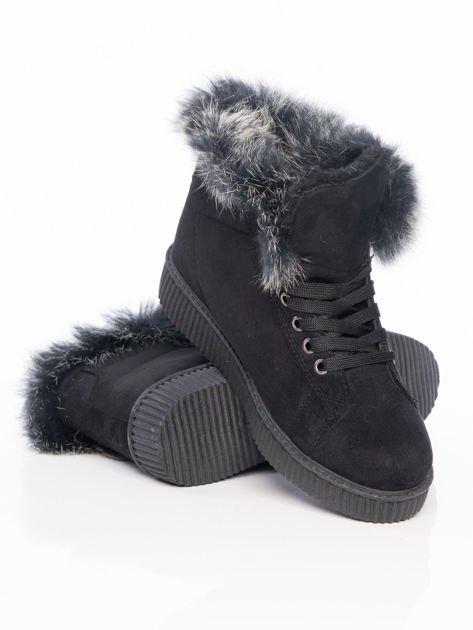 Czarne buty sportowe z grubym futrzanym kołnierzem na podwyższonej podeszwie                                  zdj.                                  4