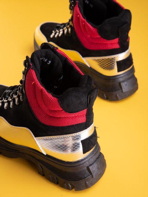 Czarne trapery z żółtymi wstawkami na przodzie                              zdj.                              3