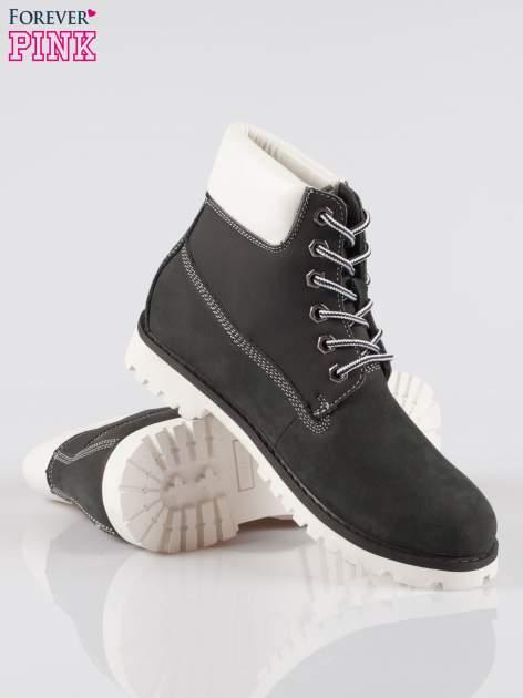 Czarne buty trekkingowe traperki damskie ze skóry naturalnej                                  zdj.                                  4