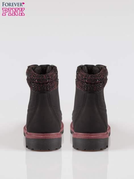 Czarne buty trekkingowe traperki z ozdobnym kołnierzem                                  zdj.                                  3