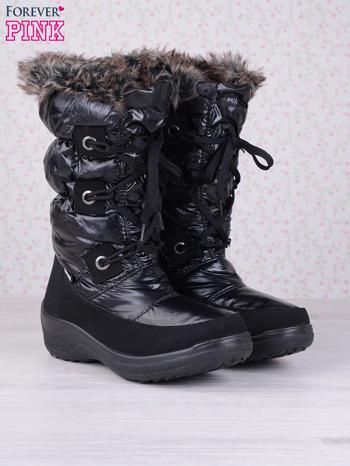 Czarne ciepłe pikowane śniegowce na misiu z membraną                                  zdj.                                  2