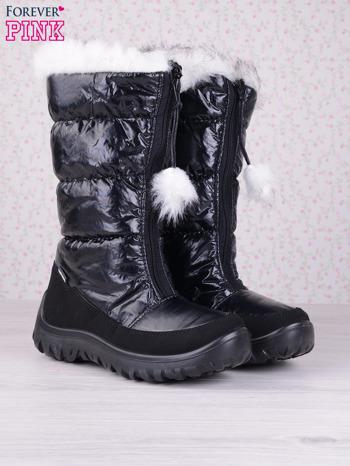 Czarne ciepłe pikowane śniegowce z membraną na suwak                                  zdj.                                  2