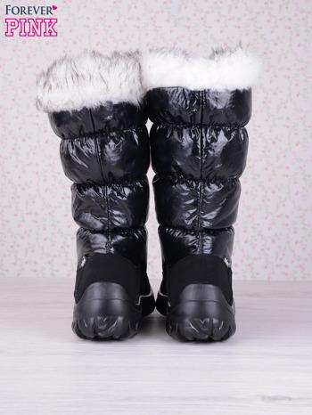 Czarne ciepłe pikowane śniegowce z membraną na suwak                                  zdj.                                  3