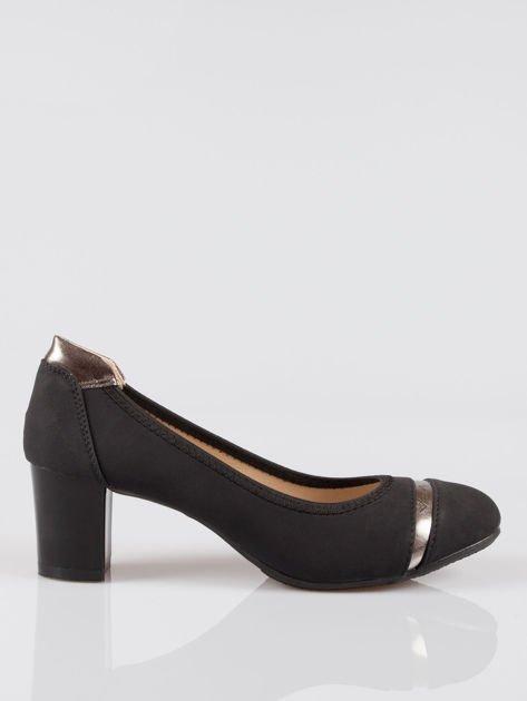 Czarne czółenka faux leather Dangerous ze złotymi wstawkami                                  zdj.                                  1