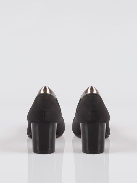 Czarne czółenka faux leather Dangerous ze złotymi wstawkami                                  zdj.                                  3