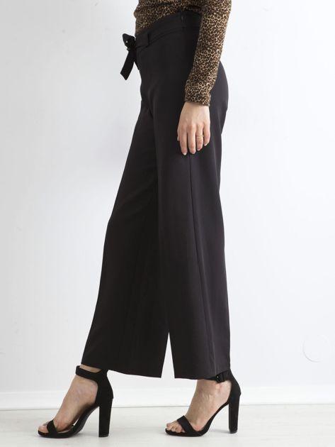 Czarne damskie szerokie spodnie                              zdj.                              3
