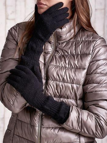 Czarne długie rękawiczki z przeszywanym ściągaczem