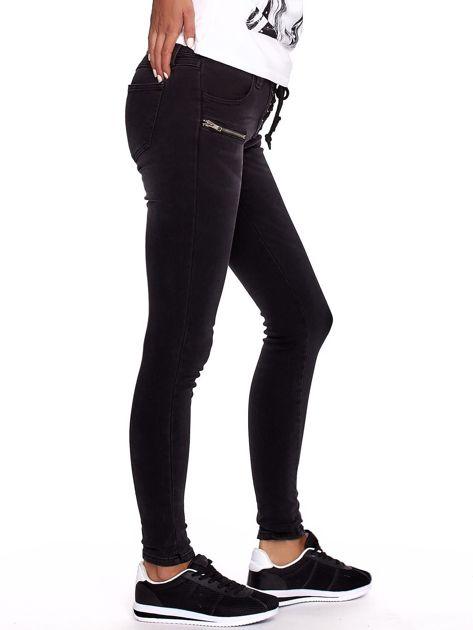 Czarne dopasowane spodnie ze sznurowaniem                              zdj.                              7