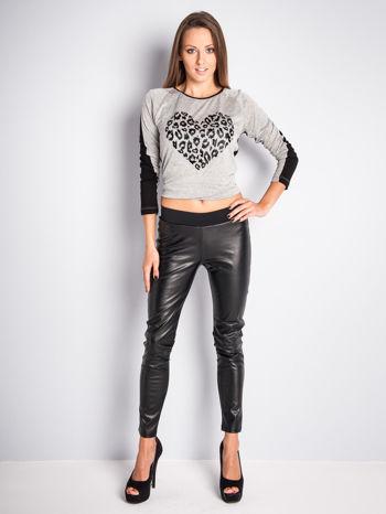 Czarne dwustronne legginsy skórzane                                  zdj.                                  5