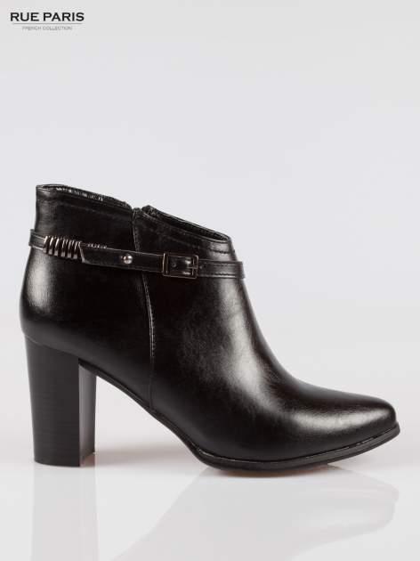 Czarne eleganckie botki na słupkowym obcasie z klamerką                                  zdj.                                  1