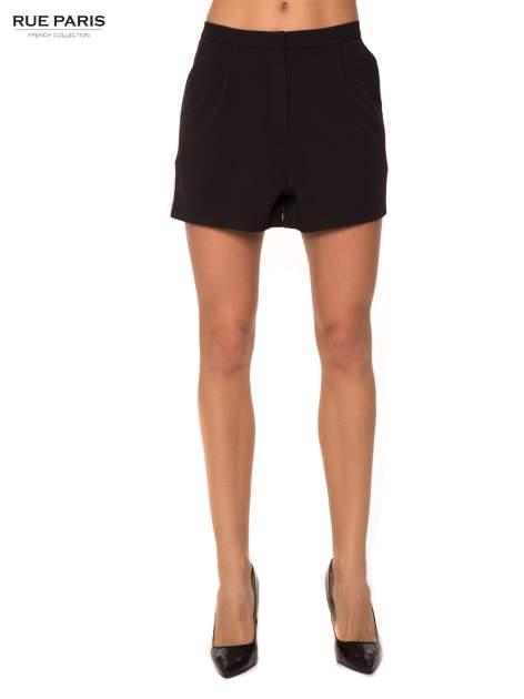 Czarne eleganckie szorty z kontrastowym lampasem                                  zdj.                                  1
