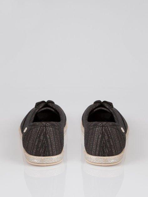 Czarne espadryle tenisówki z metaliczną nicią material High Shine                                  zdj.                                  3