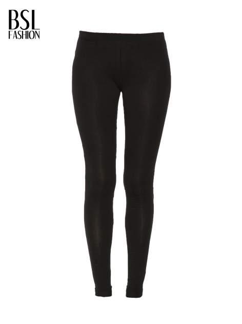 Czarne gładkie legginsy z bawełny                                  zdj.                                  4