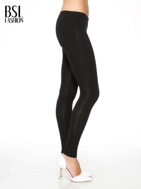 Czarne gładkie legginsy z bawełny                                  zdj.                                  2
