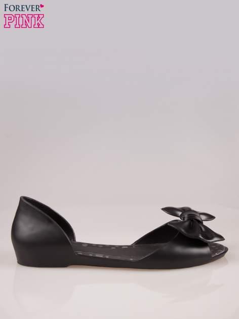 Czarne gumowe baleriny peep toe z kokardą                                  zdj.                                  1