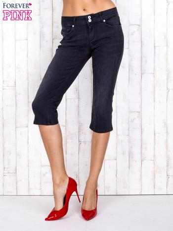 Czarne jeansowe spodnie rybaczki z przetarciami                                  zdj.                                  1