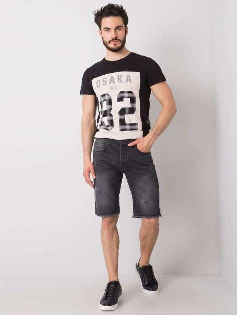 Czarne jeansowe szorty męskie Travis