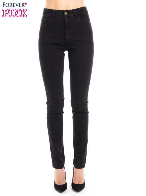 Czarne jeansy rurki z wysokim stanem                                  zdj.                                  2