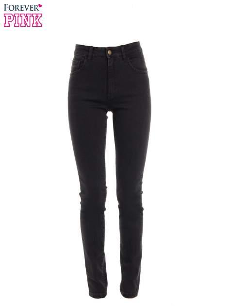 Czarne jeansy rurki z wysokim stanem                                  zdj.                                  1