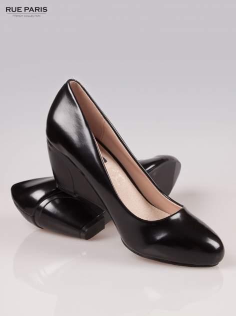 Czarne klasyczne koturny faux leather Mary                                  zdj.                                  4